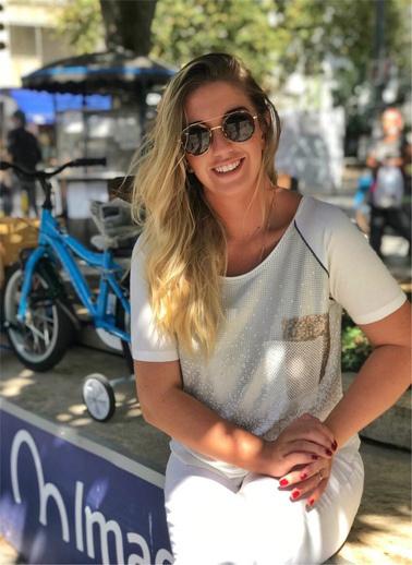 WHIP Design Baskılı Bisiklet Yaka Kısa Kol Penye Bluz Ekru